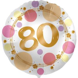 80 - Folie Ballon- rond - satijn wit met stippen in het roze/goud -18 inch /45cm