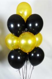 Helium Ballonnen tros - 10 ballonnen - Goud / Zwart