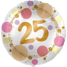 25 -FolieBallon- rond - satijn wit met stippen in het roze/goud -18 inch /45cm