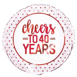 Cheers to 40 Years = Rood Folie Ballon - Robijne Bruiloft- 40 jaar getrouwd - 18 Inch/ 45 cm