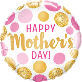 Happy Mother's day! - Goud / Roze - Folie ballon - 18Inch/46cm