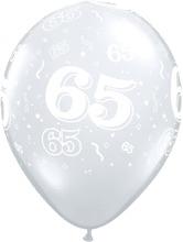 65 - nummer - Doorzichtige  - latex ballon - 11 inch/27,5cm
