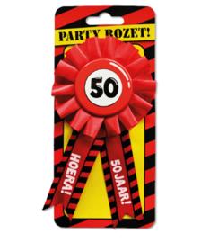 Rozet - Hoera! 50 Jaar! - Rood (Verkeersbord)