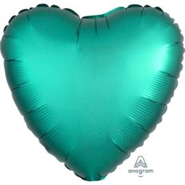 Hart - Satin Luxe Groen / Jade  - Folie Ballon - 17 Inch/43 cm