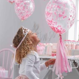 Confetti Latex Ballon - Roze - 12 Inch/ 30 cm -5 st.