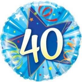 40 - Folie ballon - Ster - blauw -18 inch/45 cm