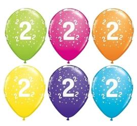2 - nummer - div. Kleuren - latex ballon - 11 inch/ 27,5 cm