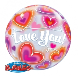 Bubble ballon -  love You - Harten - 22 inch/56cm