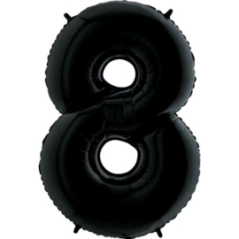 Cijfer - 1,2,3,4,5,6,7,8,9,0, - Zwart -XXL Folie Ballon - Nummer - 40 inch/100cm