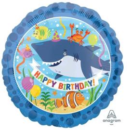 Happy Birthday-Onderwaterwereld Zeedieren- Folie Ballon17 Inch/43 cm