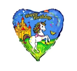 Eenhoorn / Unicorn - Happy Birthday - Hart Folie Ballon - 18Inch / 45cm