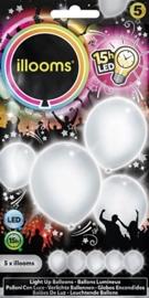 Illooms - Led Ballonnen -  Wit - 5 stuks / 23 cm.