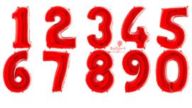 Cijfer - 1,2,3,4,5,6,7,8,9,0, - Rood - XXL Folie Ballon - Nummer - 40inch./102cm
