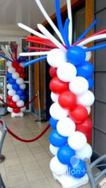 Ballonnen pilaar - standaard - Rood , Wit, Blauw - met sprieten