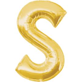 Letter S ballon goud 86 cm - folieballon letter alfabet helium of lucht