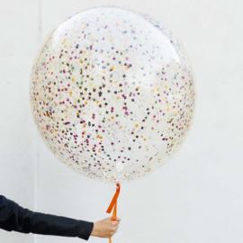 Confetti Helium Ballon - XXL doorzichtige Latex Ballon - incl Confetti - 36 Inch/90 cm