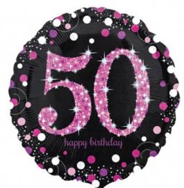 50 - Folie Ballon-Happy Birthday -Confetti  - Fuchsia / Zwart  17 Inch / 43 cm.