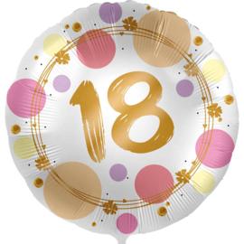 18 - Folie Ballon- rond - satijn wit met stippen in het roze/goud -18 inch /45cm