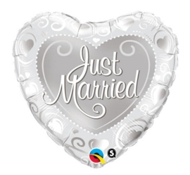 Just Married - Folie ballon - Zilver -18 inch/46cm