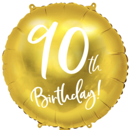 90th Birthday! - Gouden Folie Ballon - 18 Inch/45cm