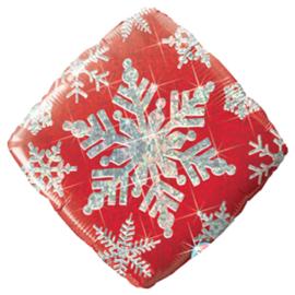 Sneeuw Kristal - Rood/Zilver - holographic - vierkant - 18 Inch / 46cm