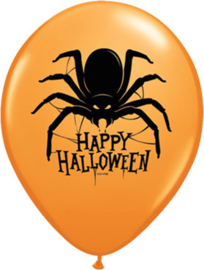 Happy Halloween - Oranje Latex Ballon - Zwarte Spin - 11 Inch/27,5 cm