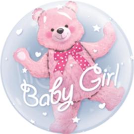 Bubbles ballon - Baby girl - Roze Beer - Dubbele ballon -24  inch /61 cm