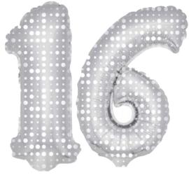 16 -Zilver met stippen- XXL Folie Ballon - Nummer - 34inch./86cm