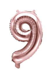 Cijfer - 9 - nummer - Rose Goud - Folie Ballon (lucht) 35 cm