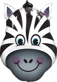 Zebra - Kop- Zwart /Wit - Folie Ballon- XXL  - Maat:32 Inch/81cm