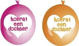 Hoera ! een dochter - Ster -Rose/Oranje- Latex Ballon - 9 Inch / 23 cm. -6 st