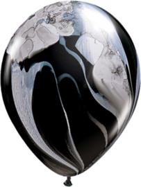 Marmer Ballonnen - Zwart / Wit - Latex Ballon  - 11 Inch /  27,5 cm - 5st.