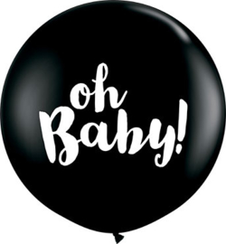 DIY: Oh Baby! - Baby  Zwart Latex Ballon XXL -Latex Ballon - 36Inch / 90cm
