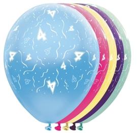 4 - nummer - div. Kleuren - latex ballon - 11 inch/ 27,5cm