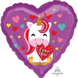 Love You Unicorn - Paars met div. kleuren hartjes - Folie Ballon - 17 Inch/43 cm