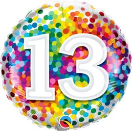 13 - Regenboog Confetti Folie Ballon - Rond - 18in/45cm