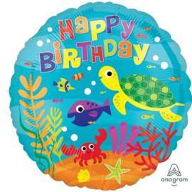 Happy Birthday - Onderwaterwereld Zeedieren - folie ballon 17 Inch/43cm