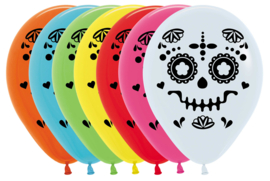 Halloween -  Sugar Skull - Latex Ballon - 12 Inch / 30 cm - 5 st.