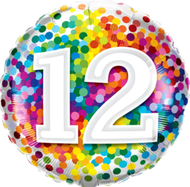 12 - Regenboog Confetti Folie Ballon - 18 Inch/46 cm