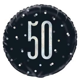 50 - Zwart/Zilveren Folie Ballon - 18 Inch/45 cm