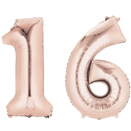 16 - Rose Goud - XXL Folie Ballon - Nummer - 34inch./86cm