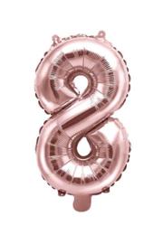 Cijfer - 8 - nummer - Rose Goud - Folie Ballon (lucht) 35 cm