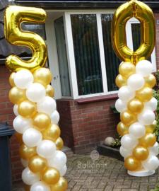 Ballonnen pilaar -standaard - Gouden Cijfers - 5 en 0 - Folie XXL topballon
