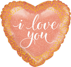 I Love You - Hart Folie Ballon - Rose Goud confetti print - 18 inch/46 cm