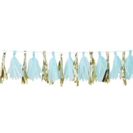 Tassel - Slinger Baby Blauw / Goud - 2 Meter -DIY