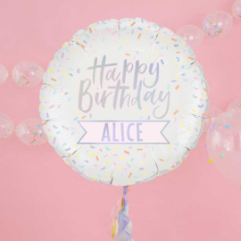 Happy Birthday - Pastel Tinten Spikkers - Personaliseerbaar - Iriserende Folie Ballon - 24 Inch. / 60cm