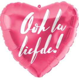 Oh la liefde! - Hart folie ballon - Fuchsia Roze met wit opschrift - 18 inch/45cm