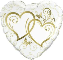 Ineen gestengelde harten-  goud  - Folie Ballon - 18  inch/ 45 cm
