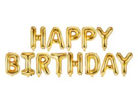 Happy  Birthday - Goud - Slinger van letters /folie ballonpakket - 35 cm /geschikt voor lucht vulling