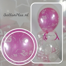 25 - Nummer - div. kleuren - latex ballon - 11 Inch. / 27,5 cm